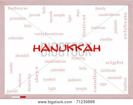 Hanukkah Word Cloud Concept On A Whiteboard