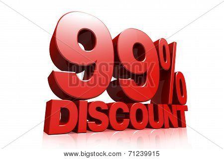 3D Render Red Text 99 Percent Discount