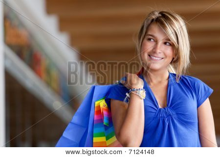 Woman At A Shopping Center