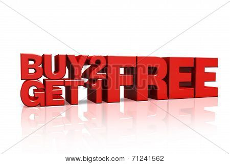 3D Red Text Buy 2 Get 1 Free