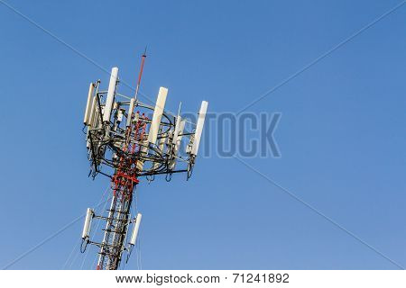 Mobile Phone Telecommunication Radio Antenna Tower.