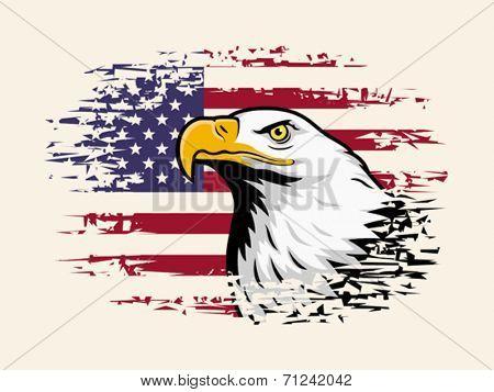 American eagle against USA flag background. Vector format EPS 8, CMYK.