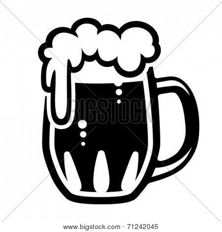 Beer mug, (Traditional glass mug filled with beer) Vector format EPS 8, CMYK.