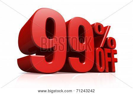 3D Render Red Text 99 Percent Off.