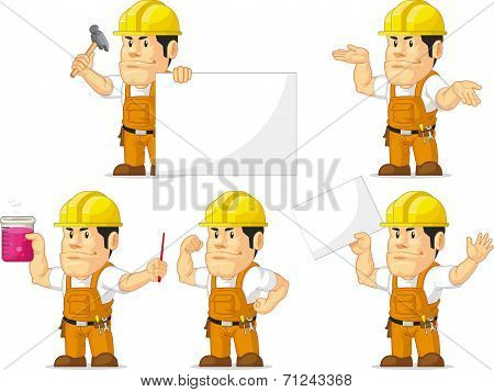 Strong Construction Worker Mascot