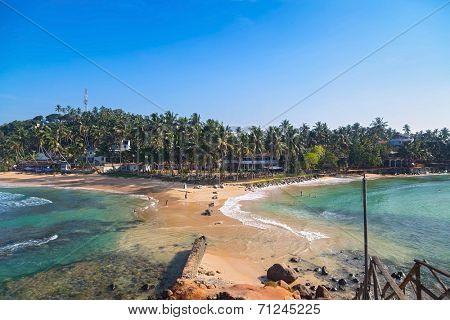 View on Weligama beach, one of most popular Sri Lankan beaches.