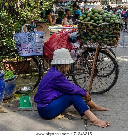 street vendor taking a rest