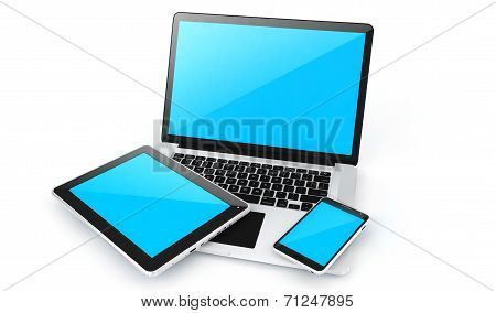 Digital Devices-laptop, Tablet And Smart Phone.