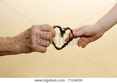hand of grandmother and grandchild
