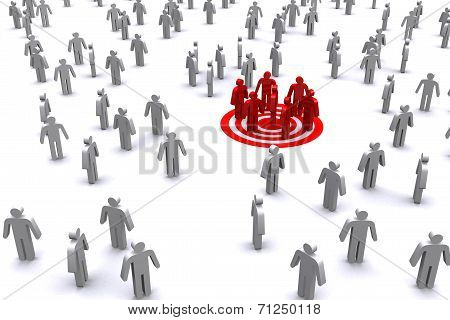 Group Of Red Business Man Standing Out From White Business Man.