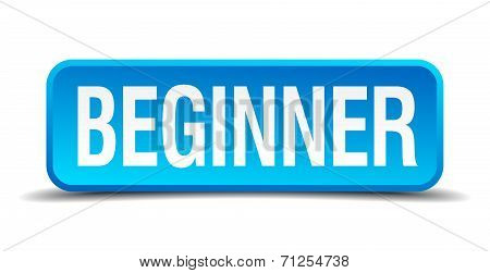 Beginner Blue 3D Realistic Square Isolated Button