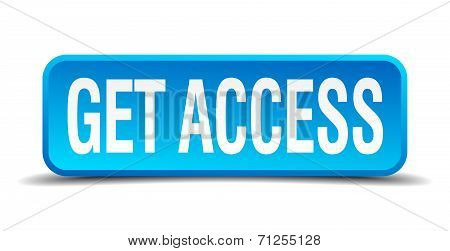 Get Access Blue 3D Realistic Square Isolated Button