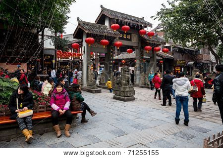 CHONGQING, CHINA - JAN 17: Unidentified tourists at Ciqikou Ancient Town on January  17, 2014 , Chongqing, China.