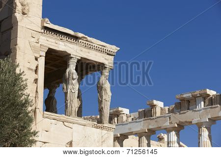 Acropolis Of Athens. Older Temple Of Athena Polios And Parthenon. Greece