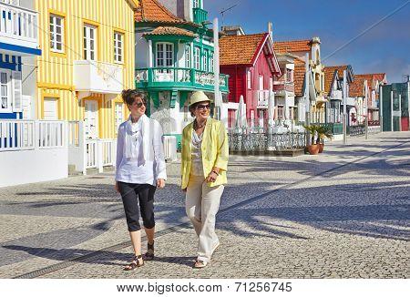 Tourists On Costa Nova, Aveiro, Portugal