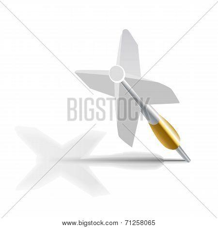 dart on blue target. Business Success Concept.