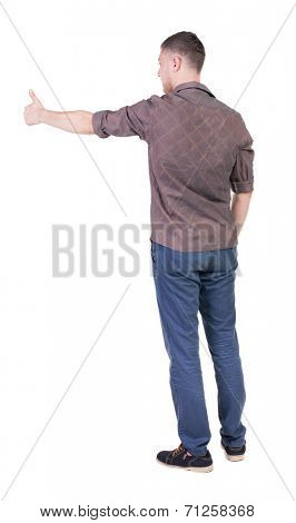 Back view of  man in checkered shirt shows thumbs up.   Rear view people collection.  backside view of person.  Isolated over white background.