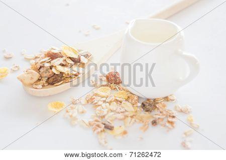 Meal Set Of Muesli And Milk
