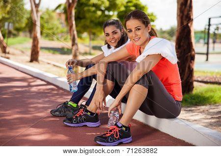 Pretty Girls Drinking Water