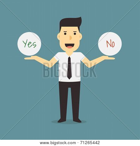 businessman holding yes and no sign