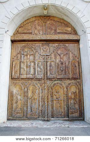 Wooden Door On Cocos Monastery,  Dobrogea , Romania