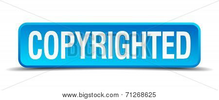 Copyrighted Blue 3D Realistic Square Isolated Button