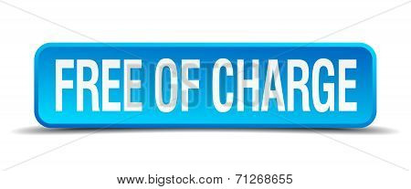 Free Of Charge Blue 3D Realistic Square Isolated Button