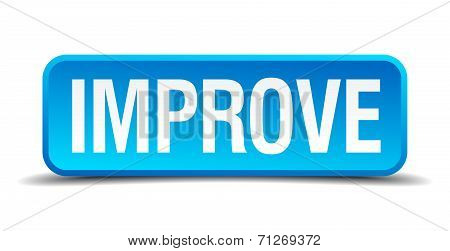 Improve Blue 3D Realistic Square Isolated Button