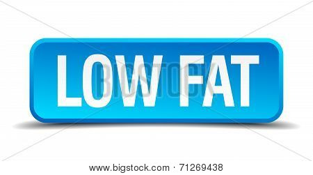 Low Fat Blue 3D Realistic Square Isolated Button