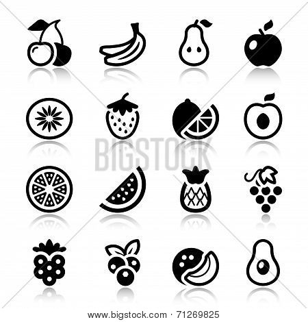 Fruits Iconset With Reflection