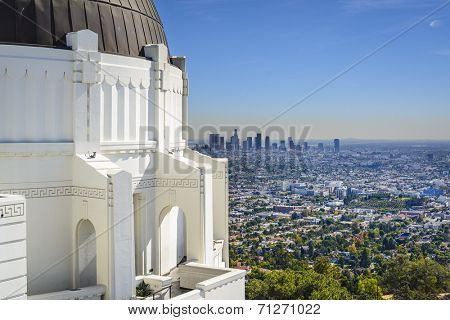 Los Angeles, California, USA downtown skyline viewed from Griffith Observatory.