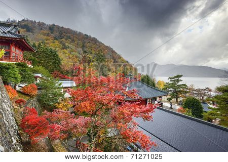Nikko, Japan viewed in the autumn from Chuzen-ji Temple complex.
