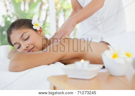 Beautiful brunette enjoying a massage at the health spa