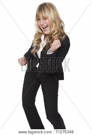 Jubilant Businesswoman Celebrating A Success
