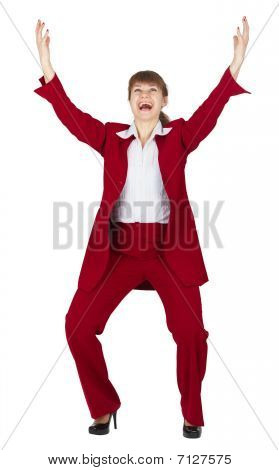 Jubilant Young Woman In Red Business Suit