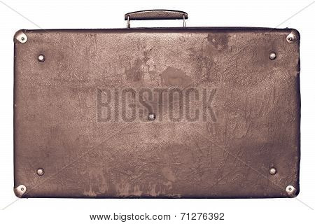 Old Shabby Brown Suitcase On A White Background