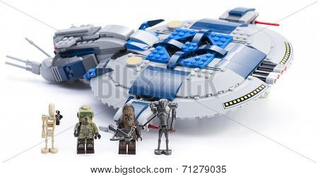 Ankara, Turkey - April 24, 2014: Lego Star Wars 75042 Droid Gunship with minifigures isolated on white background.
