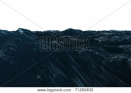 Digitally generated graphic Rough blue ocean on white background