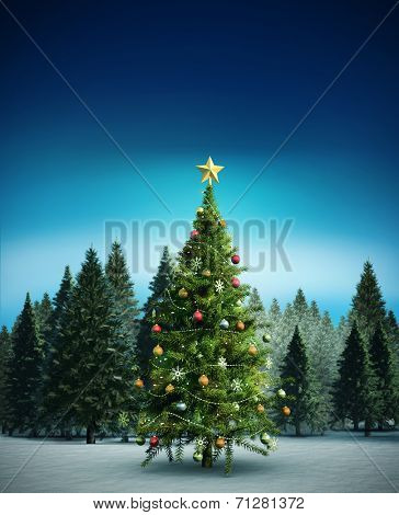 Composite image of christmas tree against fir tree forest in snowy landscape