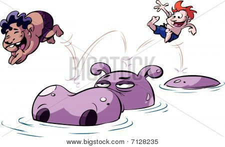 kids jumping on hippo