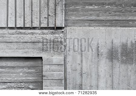 Gray Concrete Wall Abstract Background Texture With Wooden Pattern