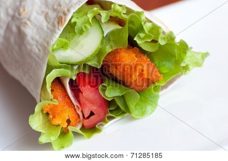 Roll With Fish Fingers In A Pita