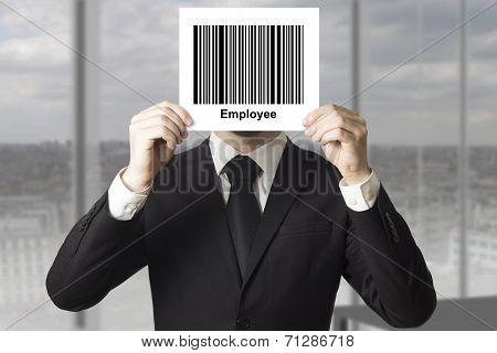 Businessman Hiding Face Behind Sign Barcode Employee