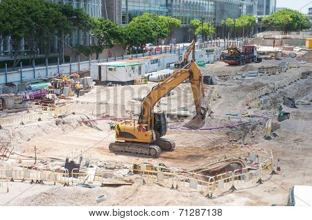 Hongkong-July 4,2014:the tractor in building site, Hongkong