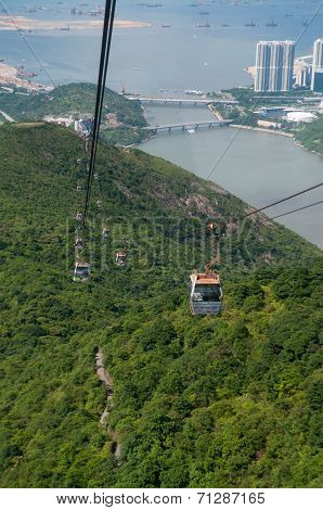 Hongkong-July 4,2014:cable car along to the mountain in Hongkong