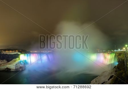 Panorama of Illumination light at Horseshoe Falls viewed from Table Rock in Queen Victoria Park in Niagara Falls at night, Ontario, Canada