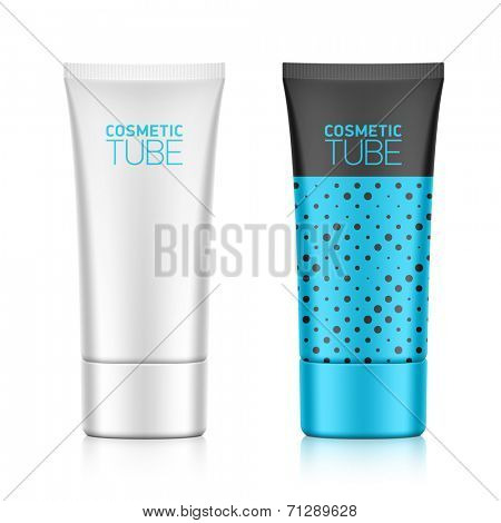 Cosmetic packaging, oval plastic tube template for your design. Vector.