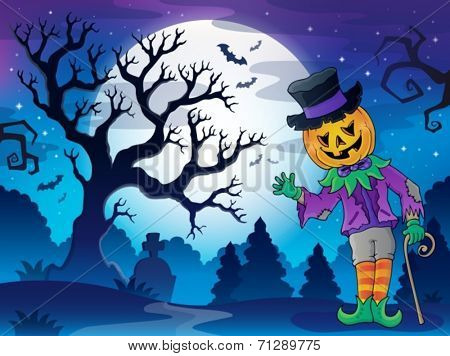 Scenery with Halloween character 2 - eps10 vector illustration.