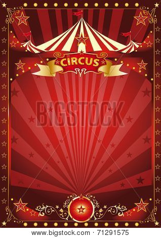Fun red circus poster. A background with a large copy space and a big top for your message.