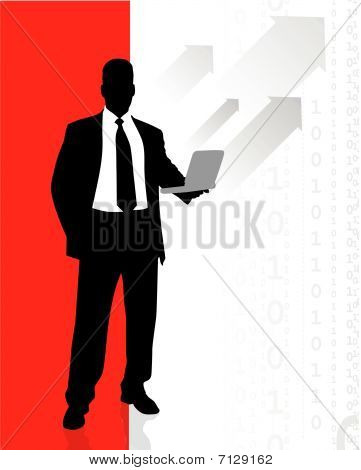 Business Man Accessing Internet On Laptop